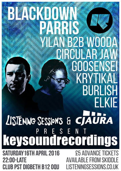 Listening Sessions & Circular Jaw present: Blackdown & Parris 16/4/16